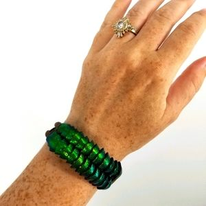 Metallic Green Blue Leather Mermaid Scale Bracelet